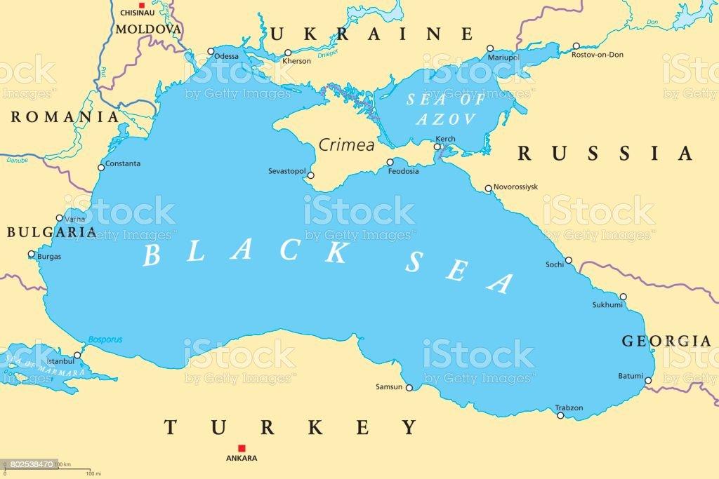 Black sea and sea of azov region political map stock vector art black sea and sea of azov region political map royalty free black sea and sea sciox Gallery