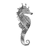 Black Sea Horse. Hand Drawn vector illustrati