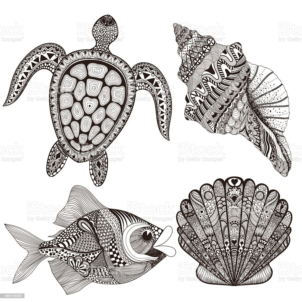 Black sea shells, fish and turtle. Hand Drawn vector art illustration