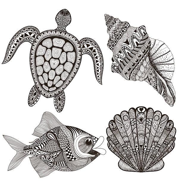 ilustraciones, imágenes clip art, dibujos animados e iconos de stock de zentangle hermoso mar negro carcasas, pescado y tortugas. dibujo a mano - tatuajes tribales