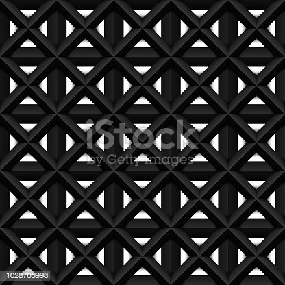 istock Black seamless 3d texture. Interior wall decoration. Vector interior cage wall panel pattern. 1028705998