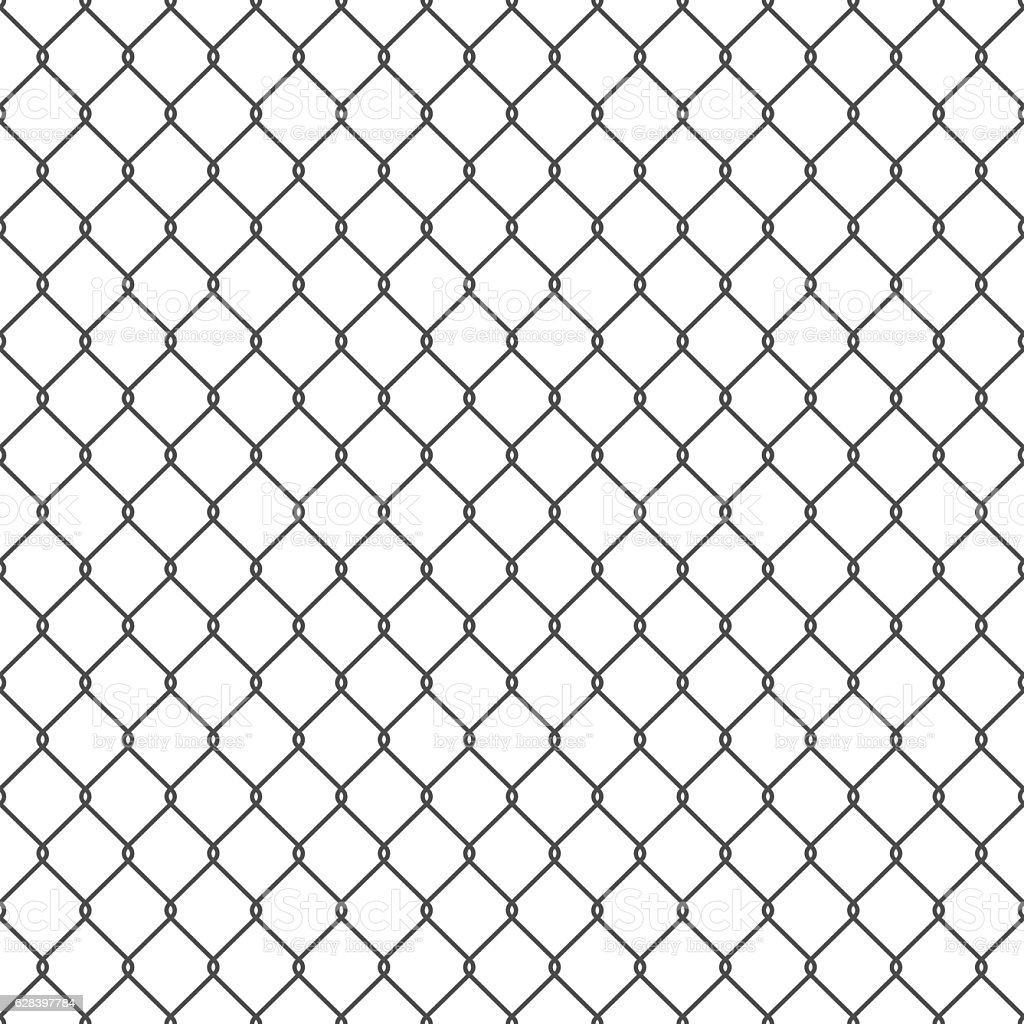 Black seamless chain link fence background. vector art illustration