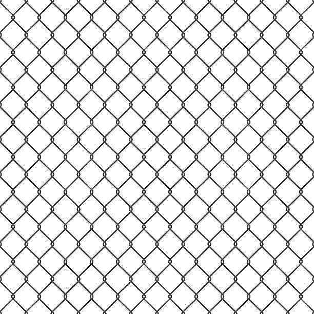 stockillustraties, clipart, cartoons en iconen met black seamless chain link fence background. - fence
