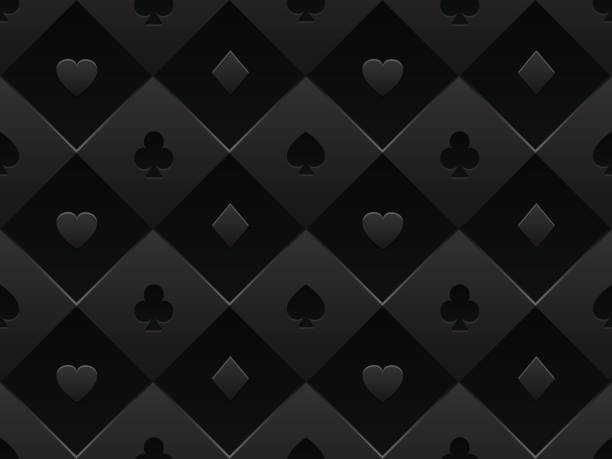 Black seamless pattern fabric poker table. Minimalistic casino vector 3d background with texture composed from volume card symbol Casino poker background casino stock illustrations