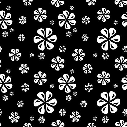 Black seamless pattern of white flowers with black highlights, abstract texture, vector floral print, simple pattern