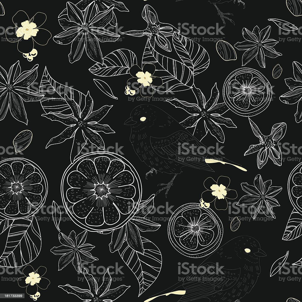 Black seamless vector pattern with lemon royalty-free stock vector art