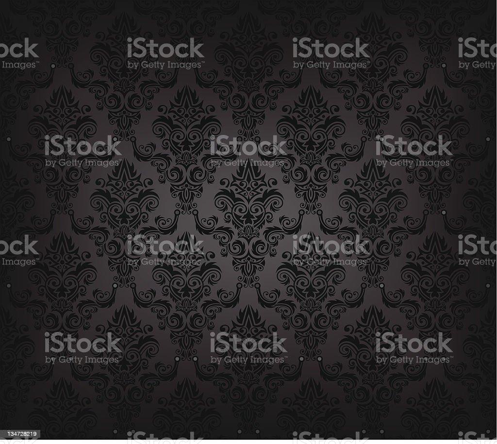 Black seamless wallpaper pattern vector art illustration