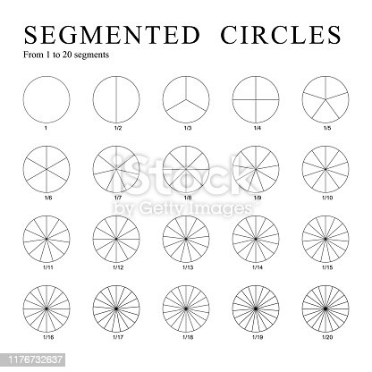 Black segmented circles isolated on a white background. Set of twenty circles divided into segments - from 1 to 20. Vector.