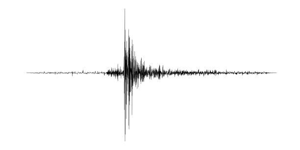 Black seismogram Seismogram of the earthquake. Seismic activity record. Vector illustration. earthquake stock illustrations