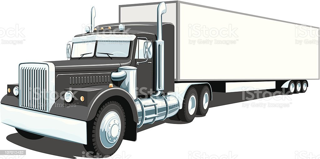 Black semi truck vector art illustration