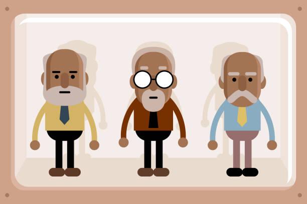 black senior business men in window box - old man puppet stock illustrations, clip art, cartoons, & icons