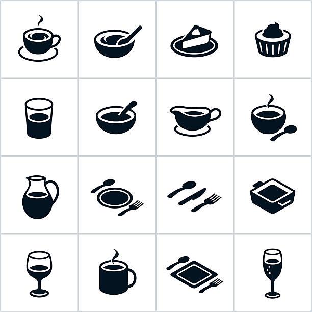 schwarze geschirr symbole - schüssel stock-grafiken, -clipart, -cartoons und -symbole