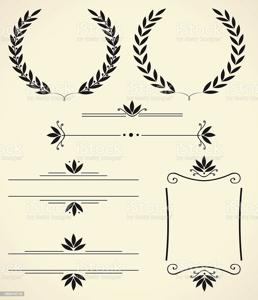 Black set of designs and decoration vector art illustration