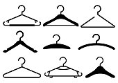 Black set of hanger icons. Vector illustration