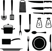 Kitchen items. Download also contains PNG with transparent background.
