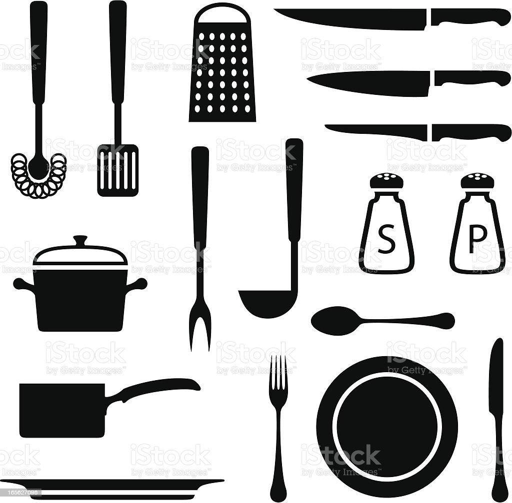 Black set of kitchen icons on white background vector art illustration