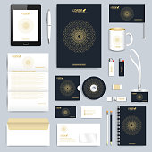 Black set of vector corporate identity template. Modern business stationery