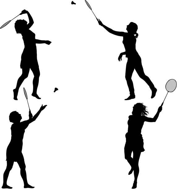 black set silhouette of female badminton player on white background - badminton smash stock illustrations
