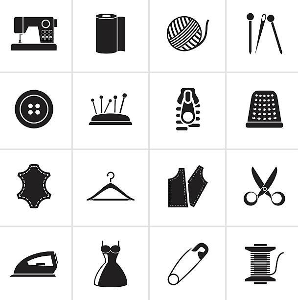 black sewing equipment and objects icons - lederverarbeitung stock-grafiken, -clipart, -cartoons und -symbole