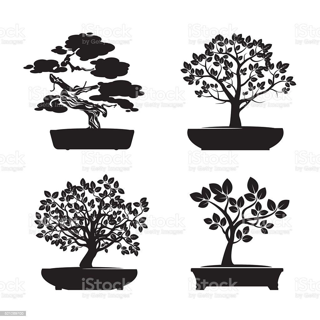 Nero forma di alberi Bonsai. Illustrazione vettoriale. - illustrazione arte vettoriale