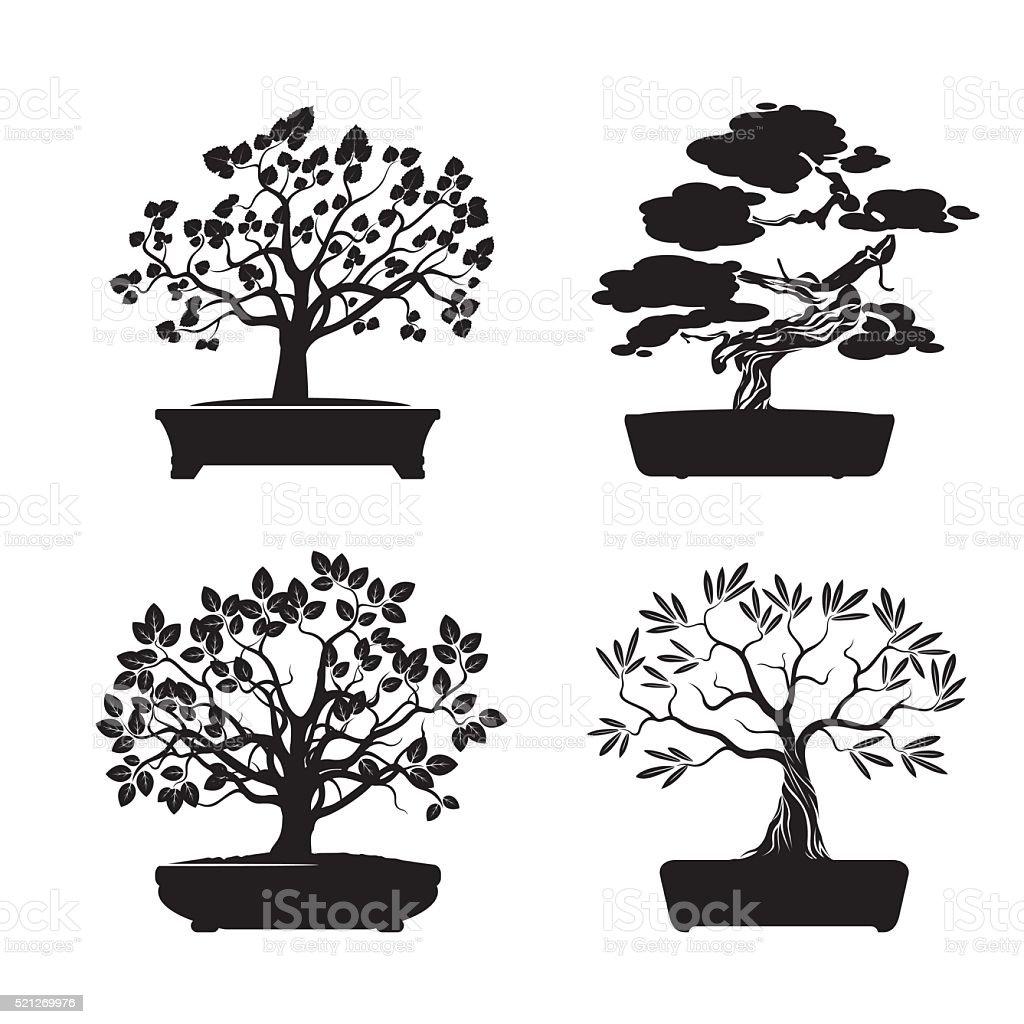 Black shape Bonsai Trees. Vector Illustration. vector art illustration