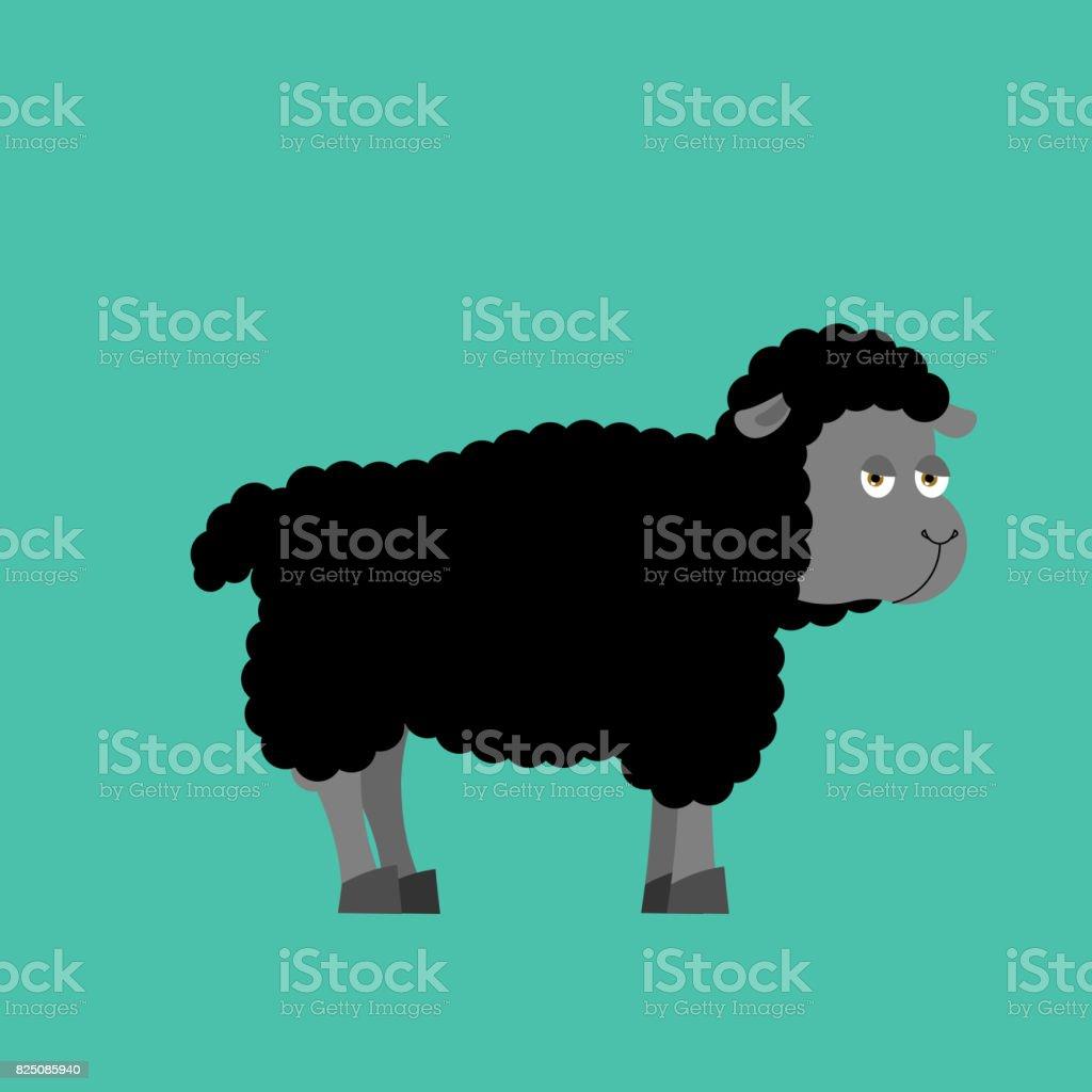 Mouton noir des animaux de ferme isolée. brebis noire sur fond blanc - Illustration vectorielle