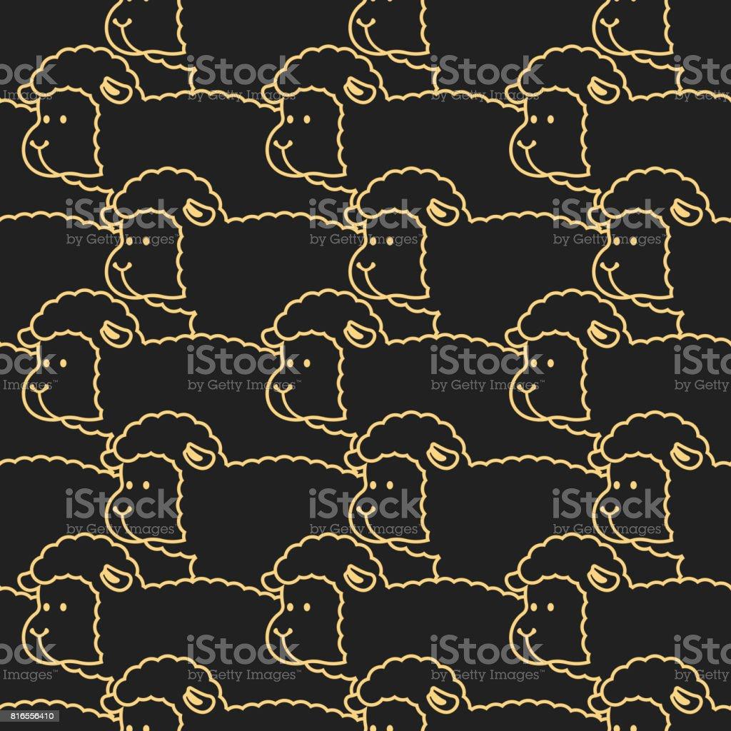 Mouton noir motif. ornement de brebis.  Troupeau de moutons. Fond animaux de ferme. Texture pour le linge de bébé - Illustration vectorielle