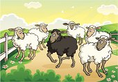 Vector Ilustration of a black sheep proudly standing out from the flock. File saved on layers for easy editing.