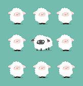 istock black sheeps Between White Sheep vector 1329506415