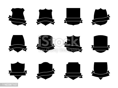Black shield labels with ribbons. Heraldic royal blazon badges. Medieval insignia shields, pennants. Security signs retro vector shielding military wreath shape logo set