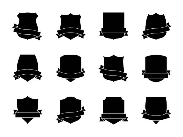 black shield labels with ribbons. heraldic royal blazon badges. medieval insignia shields, pennants. security signs retro vector set - dead animal stock illustrations