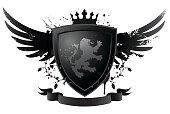 Black shield with lion. Editable vector illustration.
