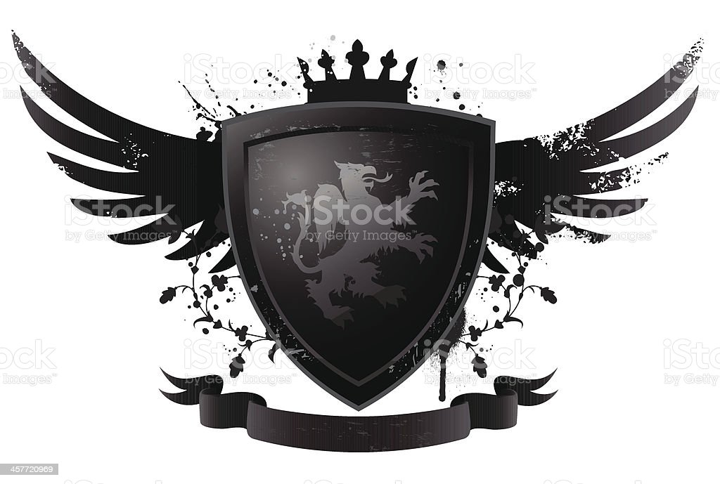 Black shield with griffin royalty-free stock vector art