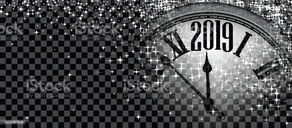 black shiny 2019 new year banner with clock royalty free black shiny 2019 new