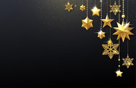 Fond Fête Brillant Noir Avec Des Étoiles Dorées Et De ...