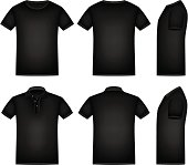 Vector black shirts and polo shirt with isolated background.