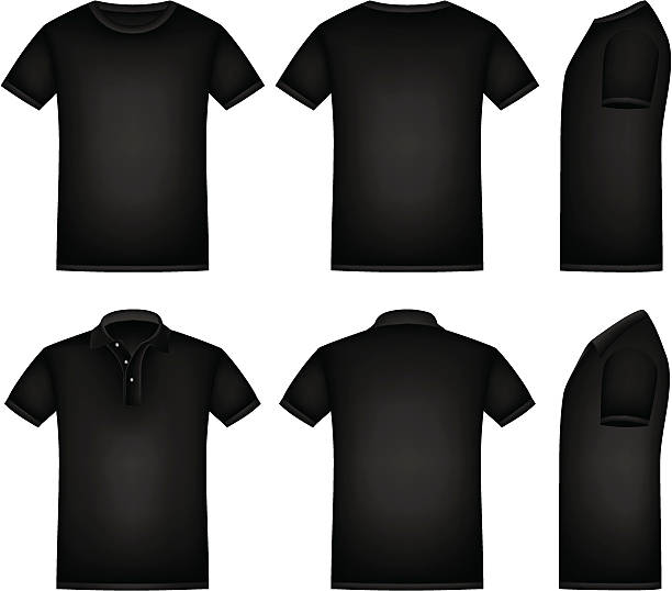 Black Shirt Vector black shirts and polo shirt with isolated background. black shirt stock illustrations