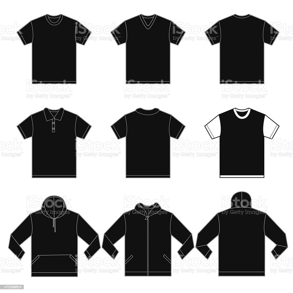 Black Shirts Template Stock Vector Art More Images Of 2015