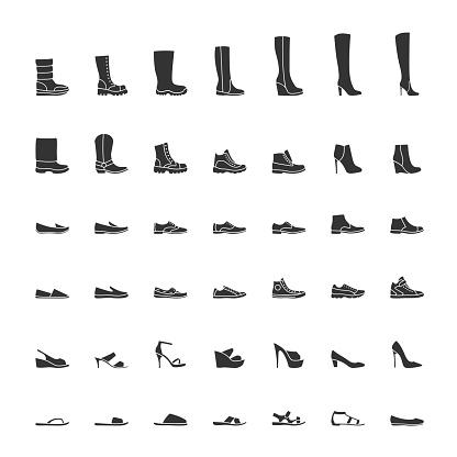 Black shoes icon set, men and women fashion shoes. Vector