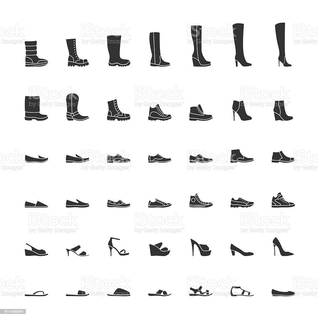 Black shoes icon set, men and women fashion shoes. Vector vector art illustration