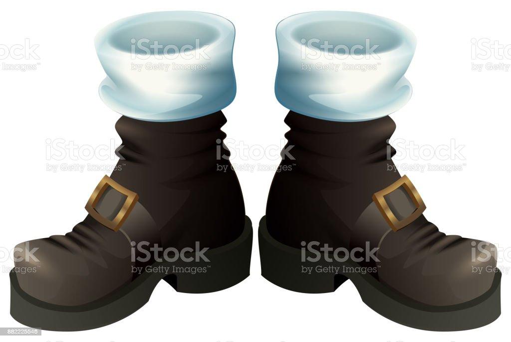 Ilustración De Zapatos Negros Con Hebillas De Oro Botas De