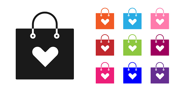 Black Shopping bag with heart icon isolated on white background. Shopping bag shop love like heart icon. Valentines day symbol. Set icons colorful. Vector Illustration