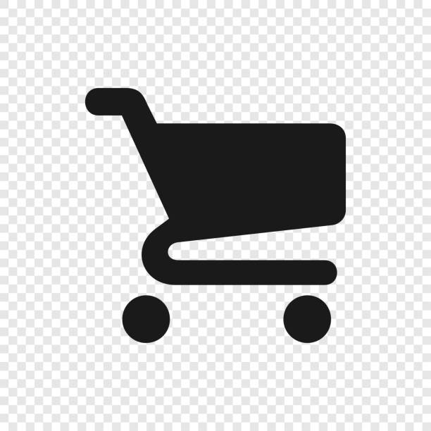 black shopping cart icon on transparent background - handel detaliczny stock illustrations