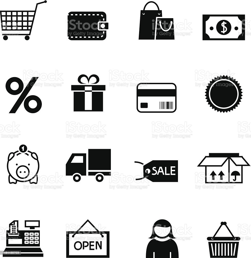 Black shopping icon set Black shopping icon set vector illustration design elements.File contain EPS8 and large JPEG ATM stock vector