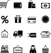 Black shopping icon set vector illustration design elements.File contain EPS8 and large JPEG