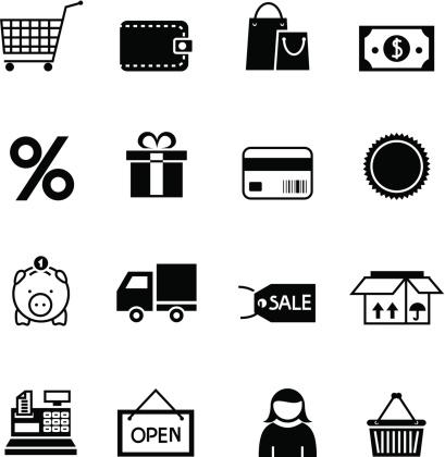 Black Shopping Icon Set Stock Illustration - Download Image Now