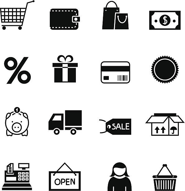 stockillustraties, clipart, cartoons en iconen met black shopping icon set - orthografisch symbool