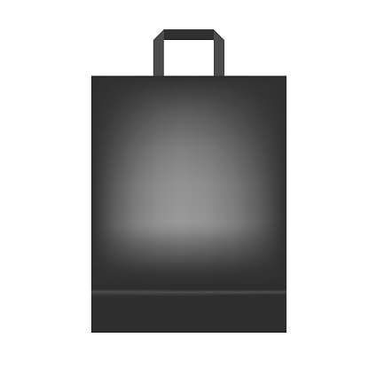 Black shopping or merchandise bag with handle, vector mock up