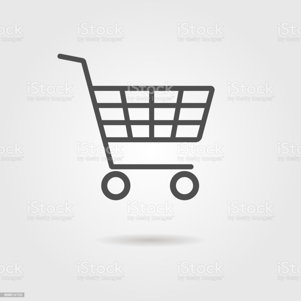 black shopping trolley with shadow vector art illustration