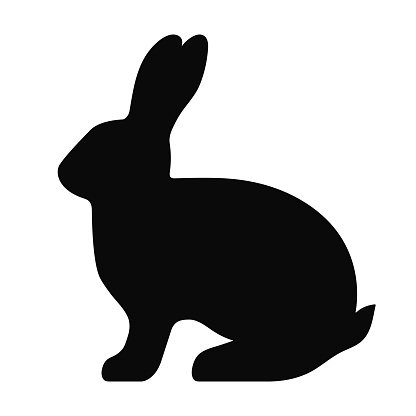 Black side silhouette of a rabbit isolated on white background.
